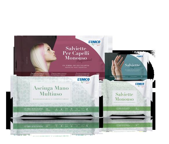 L'UNICO Alta Qualità è il nuovo marchio del pulito Salviette monouso biodegradabili e compostabili per la cura della persona